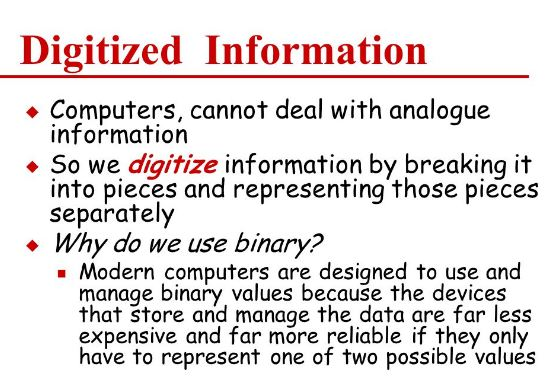 Digitized Information can be used by Computers